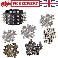 Plastic Punk Studs with Brass Pins Goth Spike Rivets for Fashion Clothes 100pcs