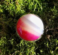 SterlingSilver/925 Ring Pink/white/transparent Agate round cabochon M1/2