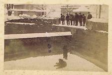 Victorian Visitors at a Zoo Bear Pit - Antique Albumen Photograph c1880