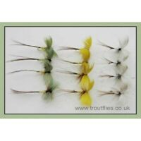 Drake Mayflies, 12 Pack Coloured Drake Mayfly Trout Flies, Green, Grey, Yellow