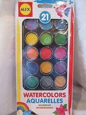 Alex Deluxe Watercolor Paint Set 21 Colors/Case/Mixing Pallette & Brush New