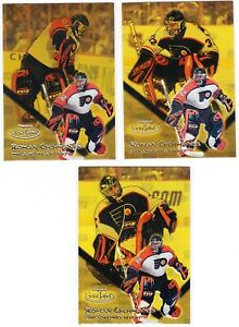 2001 TOPPS GOLD LABEL:BLACK,ROMAN CECHMANEK,3 CARD LOT,CLASS 1- 2-3,NO115,FLYERS