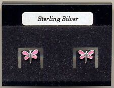 Pink Dragonfly Sterling Silver 925 Studs Earrings Carded