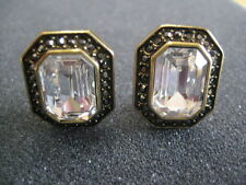 "HEIDI DAUS ""Simply Stated"" Crystal Button Omega-Pierced Earrings (Orig.$49.95)"