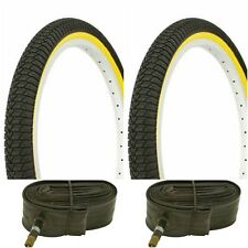 "Two YELLOW WALL 20x1.95"" BIKE BICYCLE TRAILER JOGGER TIRES & TUBES"