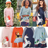 Toddler Baby Girls Kids Autumn Clothes Long Sleeve Party Bird Tops T-Shirt Dress