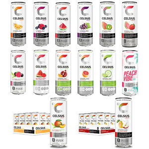 Celsius Sparkling Energy Drink Zero Sugar 12oz Cans 12-Pack (Variety of Flavors)