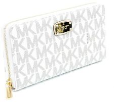 Michael Kors Purse Zip Around Continental Wallet Logo Monogram Vanilla PVC Large