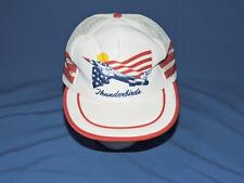 Vintage 80s USAF Thunderbirds Hat White Red Blue American Flag Snapback Cap