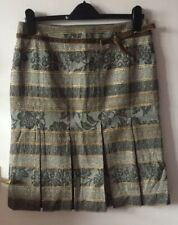 Tapestry Type Wool Mix Box Pleat Skirt, Size UK14, Eur42, By Cortefiel, Lined