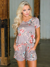 Hot Selling Floral Short Sleeve Rompers - Khaki