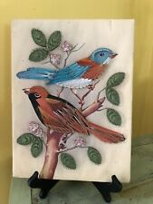 Vintage Bird String Art Picture Bluebird and Oriole on Branch Bird Picture