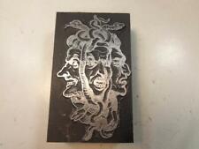 Printing Letterpress Printer Block Mythology Furies Hags w Snakes Print Cut
