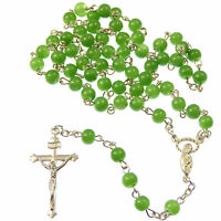 Green Jade style 6mm beads glass Rosary beads necklace Christian silver