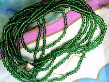 VTG 3 STRANDS INDIA TRANSPARENT GREEN BEADS GLASS #050912p