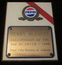PEPSI Cola Salesperson Award 1988 Bottlers of Auburn CA RARE vintage plaque old