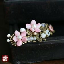 HANDMADE Women Hair Clip Barrette Pink Flower Pearl Chinese Classic FREE GIFT