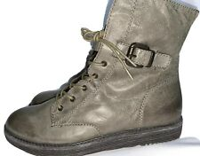 OTBT Gray Leather Lace Up Side Zip  8.5 US  Buckle Ankle Boot Shoe Brentsville