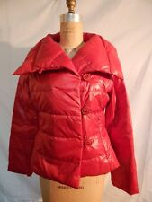 Andrew Marc Assymetric Button Front Short Puffer Coat M Red   New w/Defects
