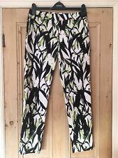 Reiss Olivia Black White Green Leaf Print Straight Leg Trousers Size 10