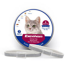 2 Pack Excelvan 25 Inches Flea & Tick Collar for All Cats 6 Months Protection