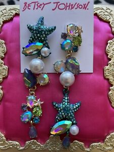 Betsey Johnson Crabby Couture Blue Starfish Pearl Crystal AB Opal Jewel Earrings