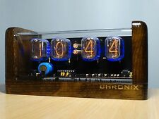 4xIN-12 Nixie Tubes Clock stained oak case & alarm steampunk vintage retro watch