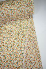 """Quilt Fabric Floral Orange Green Print Apparel Upholstery Craft 45"""" Wide #120"""