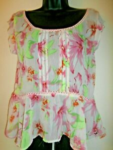 Hollister womens floral polyester blouse size S