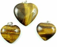 3PC Unique tiger eye agate Heart-shaped pendant Gemstone Beads necklace