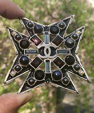 Authentic Chanel HUGE Maltese Cross Faux Pearl Enamel Crystal Brooch Pendant