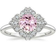 3Ct Round Cut Morganite Simulant Diamond Art Filigree Ring White Gold Fns Silver