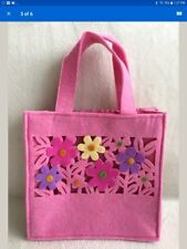 "Avon Spring Floral Felt Bag / Pink with Flowers / 8"" x 8"" x 3"" / New in Plastic"
