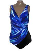 Sz 14 Miraclesuit Breakers Criss Cross Colorblock Swimsuit Blue Multi #6526417