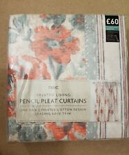 New Next Lined cotton Coral Maytown floral print pencil pleat Curtains168x183cm
