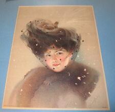 Old Vintage 1910 - Antique VICTORIAN PRINT - Fancy Lady w/ Veil - Snow Flakes