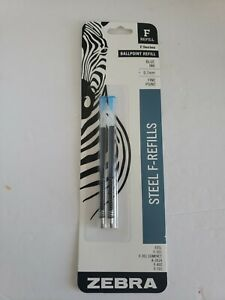 Zebra Ballpoint Pen Steel F-Refills F Series Black Ink Fine Point 0.7mm 2pk