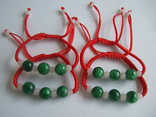 Chinese Oriental Green Round Jade Lucky Beads Red String Bracelet Adjustable