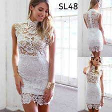Sz 8 10 White Lace Sleeveless Bodycon Formal Cocktail Party Slim Fit Mini Dress