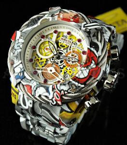 Invicta 52mm Reserve GRAND Bolt Zeus SWISS Hydroplated GRAFFITI Red Gem Watch