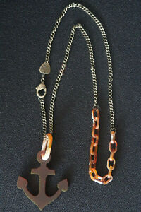 TATTY DEVINE ANCHOR PENDENT AND CHAIN NECKLACE TORTOISESHELL & BRONZE A CLASSIC
