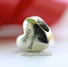 Authentic Pandora Sterling Silver & 14Kt Happy Anniversary Bead 791290