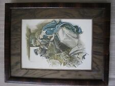 """Vintage 1911 framed """"The Honeymoon signed 13x10 by Harrison Fisher wedding train"""