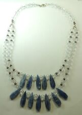 Statement  Kyanite & Crystal Necklace Sterling Silver Handcrafted Wedding