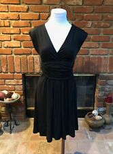 ANN TAYLOR LOFT sz XXSP Petite Black Sleeveless Ruched Accent Versatile Dress