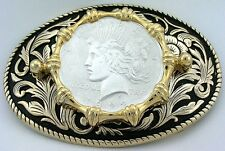 Gold Color Oval Western REAL 1922 Peace Silver Dollar Belt Buckle epbb55