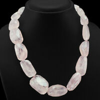 641.00 CTS NATURAL SINGLE STRAND PINK ROSE QUARTZ FACETED BEADS NECKLACE (RS)
