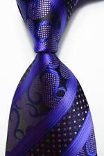 New Striped Classic Paisley Purple Blue JACQUARD WOVEN Silk Men's Tie Necktie