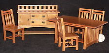 Dollhouse Miniature Pecan Mission Dining Set Table, Buffet, 4 Chairs 1:12 #T7239