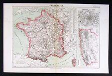 1874 Bilder Map - France Paris Algier Africa Europe